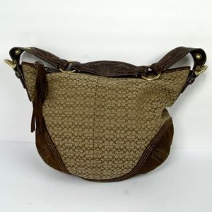 Coach Signature Tassel Hobo Bag Brown Canvas Suede